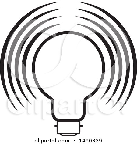 Clipart of a Black and White Light Bulb - Royalty Free Vector Illustration by Lal Perera
