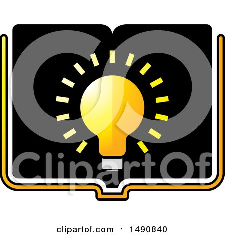 Clipart of a Bright Light Bulb on an Open Book - Royalty Free Vector Illustration by Lal Perera