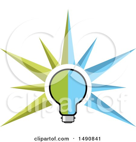 Clipart of a Green and Blue Light Bulb with Rays - Royalty Free Vector Illustration by Lal Perera