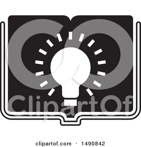 Clipart of a Black and White Bright Light Bulb on an Open Book - Royalty Free Vector Illustration by Lal Perera