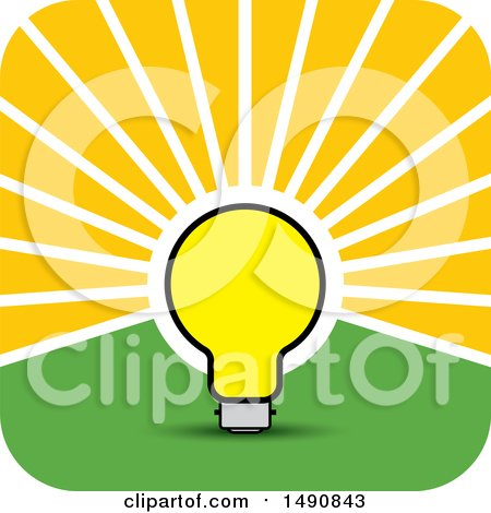 Clipart of a Bright Light Bulb As a Sun in a Sky - Royalty Free Vector Illustration by Lal Perera