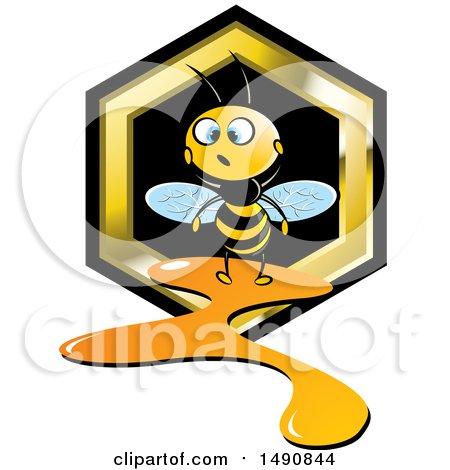 Clipart of a Bee and a Leaking Honeycomb - Royalty Free Vector Illustration by Lal Perera