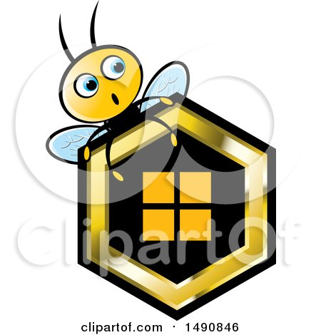 Clipart of a Bee over a Honeycomb - Royalty Free Vector Illustration by Lal Perera