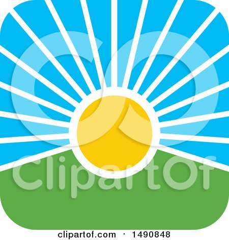 Clipart of a Sunset Icon - Royalty Free Vector Illustration by Lal Perera