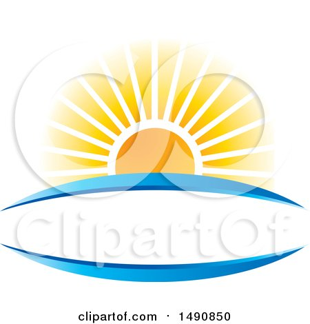 Clipart of a Sunset and Blue Swooshes Forming a Frame - Royalty Free Vector Illustration by Lal Perera