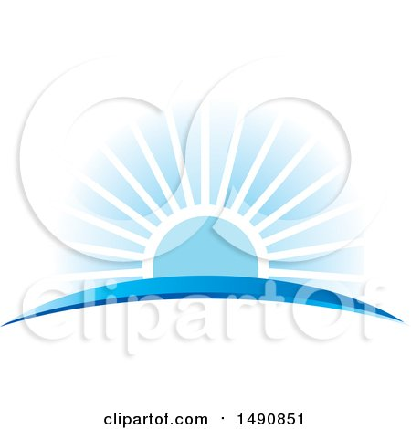 Clipart of a Blue Sunset and Swoosh - Royalty Free Vector Illustration by Lal Perera