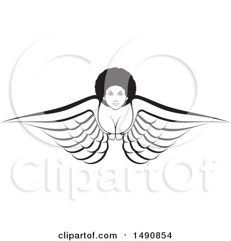 Clipart of a Black and White Flying Angel Woman - Royalty Free Vector Illustration by Lal Perera