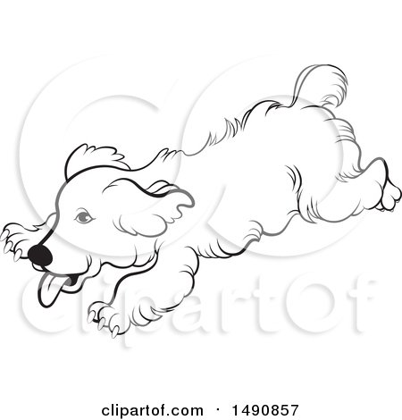 Clipart of a Black and White Playful Running Dog - Royalty Free Vector Illustration by Lal Perera