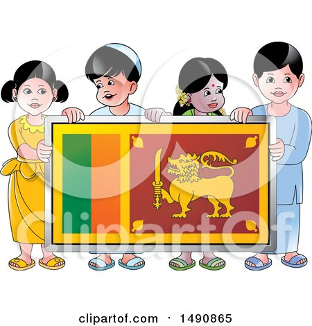 Clipart of a Group of Happy Sri Lankan Children Holding a Flag - Royalty Free Vector Illustration by Lal Perera