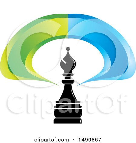 Clipart of a Bishop Chess Piece and Blue and Green Swoosh - Royalty Free Vector Illustration by Lal Perera