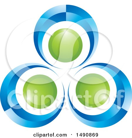 Clipart of a Blue and Green Abstract Circle or Dancer Design - Royalty Free Vector Illustration by Lal Perera