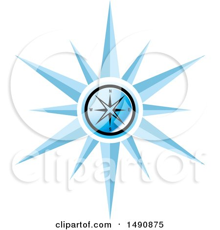 Clipart of a Blue Compass - Royalty Free Vector Illustration by Lal Perera