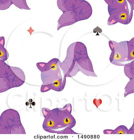 Clipart of a Seamless Pattern of Grinning Purple Cheshire Cats and Card Suit Symbols - Royalty Free Vector Illustration by Pushkin