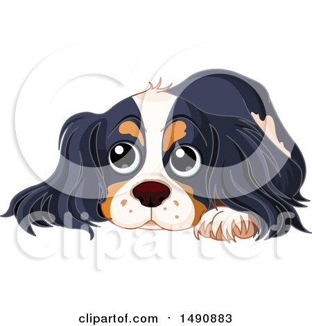 Clipart of a Cute Spaniel Dog Resting - Royalty Free Vector Illustration by Pushkin