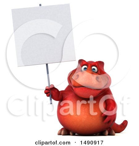 Clipart of a 3d Red T Rex Dinosaur Holding a Blank Sign, on a White Background - Royalty Free Illustration by Julos