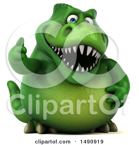 Clipart of a 3d Green T Rex Dinosaur Holding a Thumb Up, on a White Background - Royalty Free Illustration by Julos