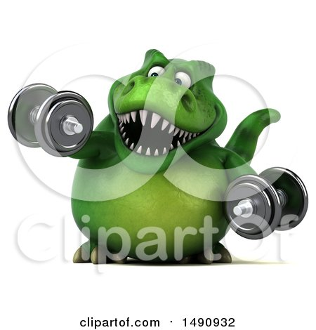 Clipart of a 3d Green T Rex Dinosaur Holding Dumbbells, on a White Background - Royalty Free Illustration by Julos