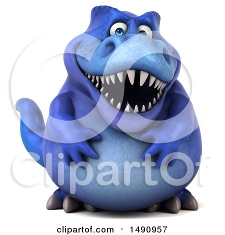 Clipart of a 3d Blue T Rex Dinosaur, on a White Background - Royalty Free Illustration by Julos