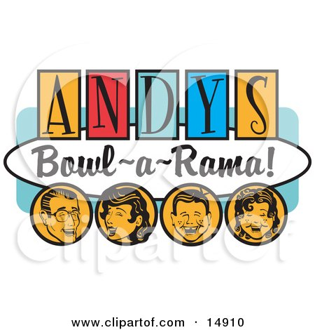 """Man, Woman, Boy And Girl, Laughing And Having Fun On A Vintage """"Andy's Bowl-A-Rama!"""" Sign Clipart Illustration by Andy Nortnik"""