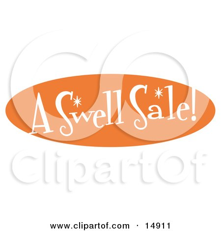 """Vintage Orange Sign Reading """"A Swell Sale!"""" Clipart Illustration by Andy Nortnik"""