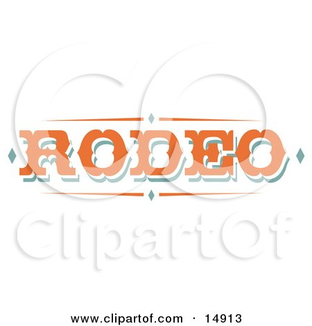 Western Orange Rodeo Sign Clipart Illustration by Andy Nortnik