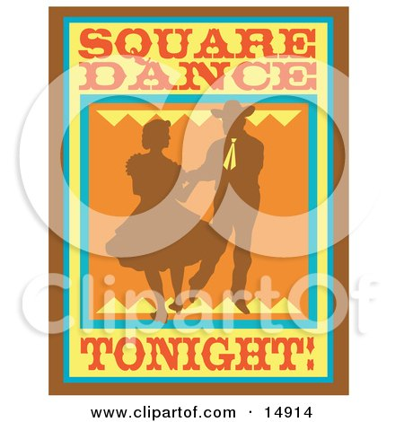 Silhouetted Cowboy Square Dancing With A Woman Clipart Illustration by Andy Nortnik