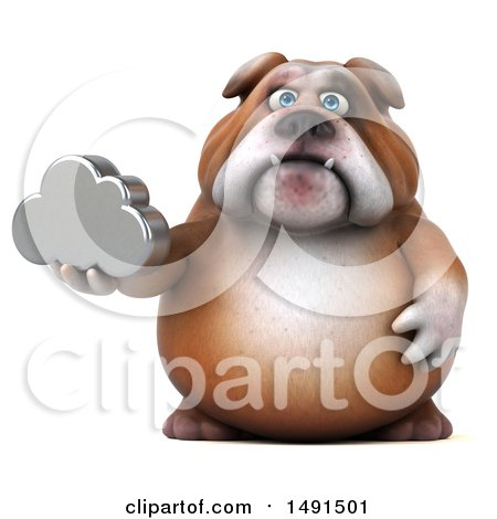 Clipart of a 3d Bill Bulldog Holding a Cloud, on a White Background - Royalty Free Illustration by Julos