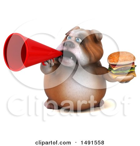 Clipart of a 3d Bill Bulldog Mascot, on a White Background - Royalty Free Illustration by Julos