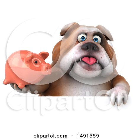 Clipart of a 3d Bill Bulldog Mascot Holding a Piggy Bank, on a White Background - Royalty Free Illustration by Julos
