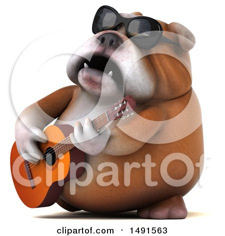 Clipart of a 3d Bill Bulldog Mascot Playing a Guitar, on a White Background - Royalty Free Illustration by Julos