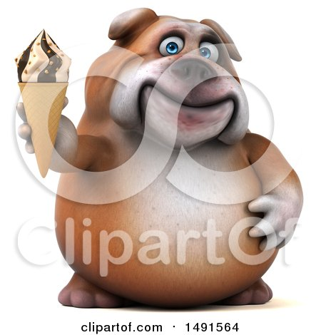 Clipart of a 3d Bill Bulldog Mascot Holding an Ice Cream Cone, on a White Background - Royalty Free Illustration by Julos