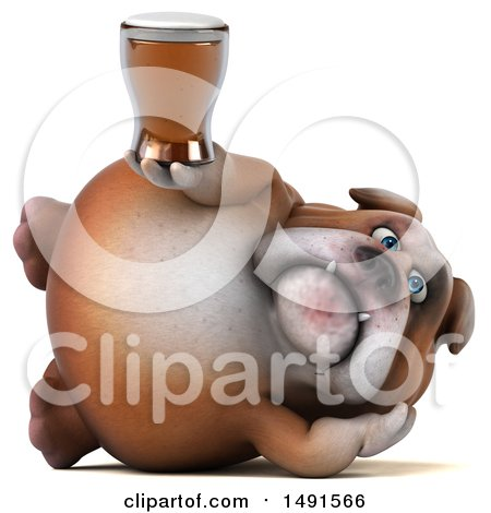Clipart of a 3d Bill Bulldog Mascot Holding a Beer, on a White Background - Royalty Free Illustration by Julos