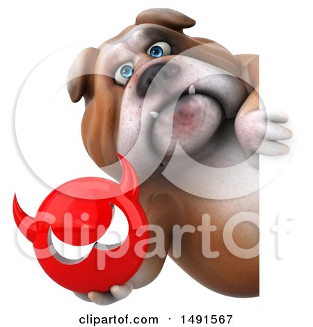 Clipart of a 3d Bill Bulldog Mascot Holding a Devil Head, on a White Background - Royalty Free Illustration by Julos