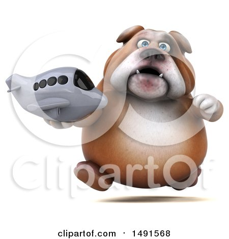 Clipart of a 3d Bill Bulldog Mascot Holding a Plane, on a White Background - Royalty Free Illustration by Julos