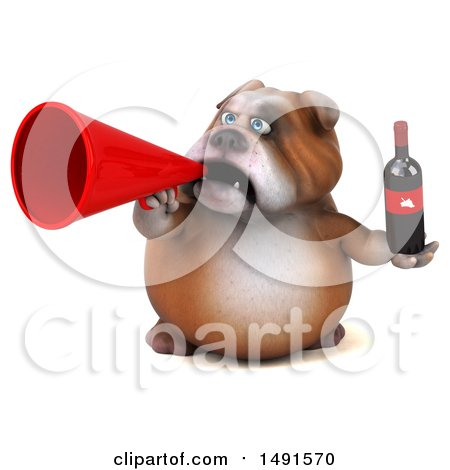Clipart of a 3d Bill Bulldog Mascot Holding a Wine Bottle, on a White Background - Royalty Free Illustration by Julos