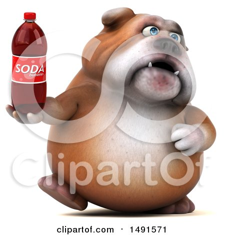 Clipart of a 3d Bill Bulldog Mascot Holding a Soda Bottle, on a White Background - Royalty Free Illustration by Julos