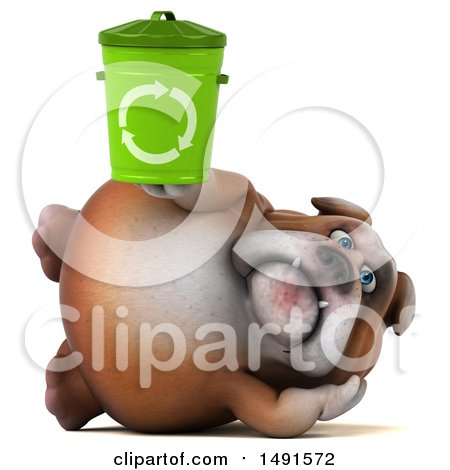 Clipart of a 3d Bill Bulldog Mascot Holding a Recycle Bin, on a White Background - Royalty Free Illustration by Julos