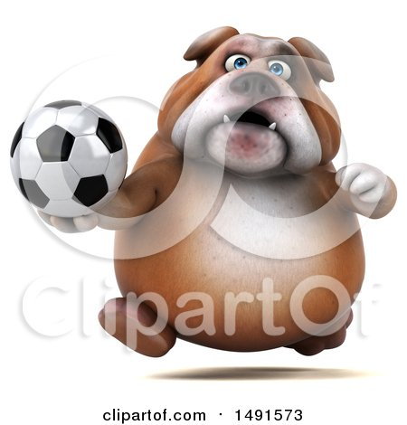 Clipart of a 3d Bill Bulldog Mascot Holding a Soccer Ball, on a White Background - Royalty Free Illustration by Julos