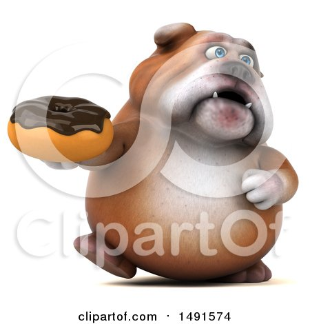Clipart of a 3d Bill Bulldog Mascot Holding a Donut, on a White Background - Royalty Free Illustration by Julos