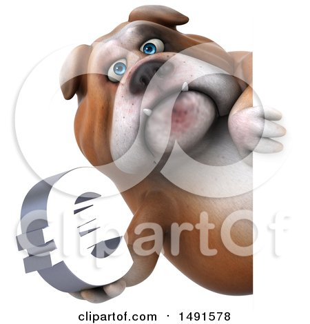 Clipart of a 3d Bill Bulldog Holding a Euro, on a White Background - Royalty Free Illustration by Julos