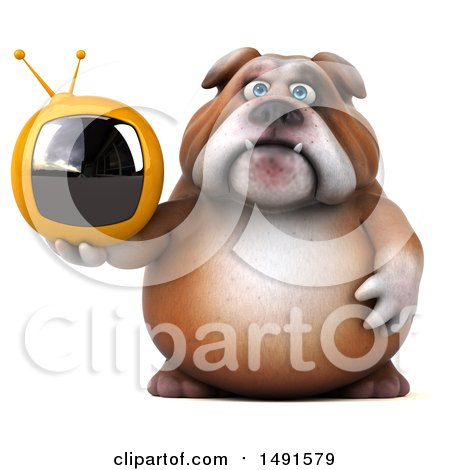 Clipart of a 3d Bill Bulldog Holding a Tv, on a White Background - Royalty Free Illustration by Julos