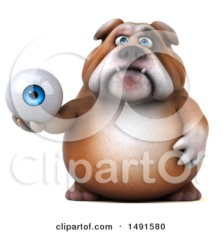 Clipart of a 3d Bill Bulldog Holding an Eyeball, on a White Background - Royalty Free Illustration by Julos
