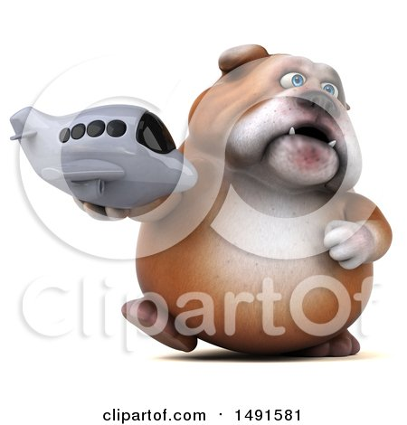 Clipart of a 3d Bill Bulldog Holding a Plane, on a White Background - Royalty Free Illustration by Julos