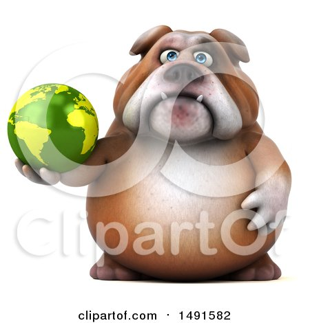 Clipart of a 3d Bill Bulldog Holding a Globe, on a White Background - Royalty Free Illustration by Julos