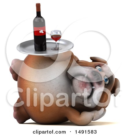 Clipart of a 3d Bill Bulldog Holding a Wine Tray, on a White Background - Royalty Free Illustration by Julos