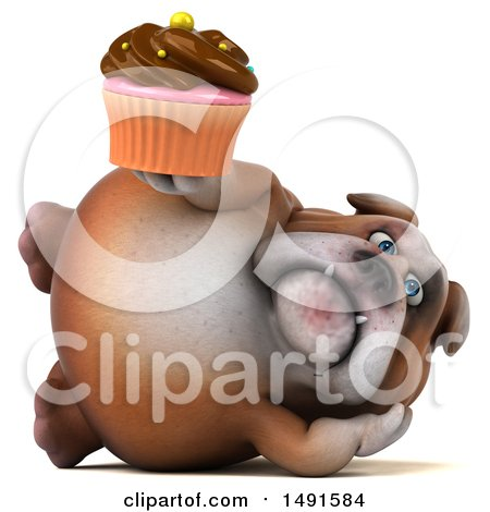 Clipart of a 3d Bill Bulldog Holding a Cupcake, on a White Background - Royalty Free Illustration by Julos