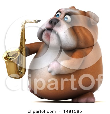 Clipart of a 3d Bill Bulldog Holding a Saxophone, on a White Background - Royalty Free Illustration by Julos