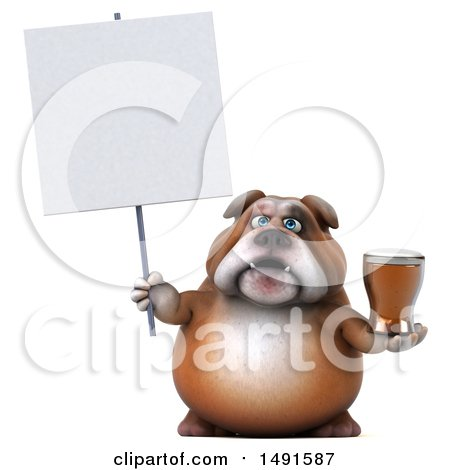Clipart of a 3d Bulldog Holding a Beer, on a White Background - Royalty Free Illustration by Julos