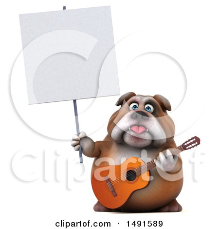 Clipart of a 3d Bulldog Holding a Guitar, on a White Background - Royalty Free Illustration by Julos