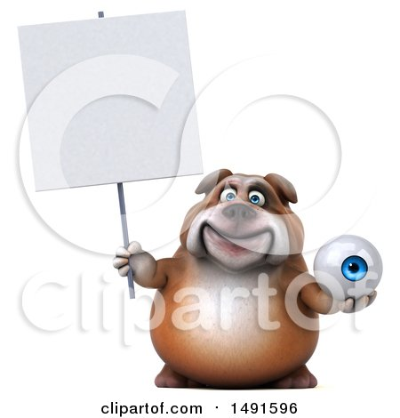 Clipart of a 3d Bill Bulldog Mascot Holding an Eyeball, on a White Background - Royalty Free Illustration by Julos
